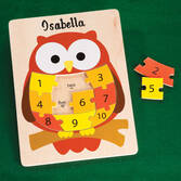 Personalized Wood Owl Number Puzzle