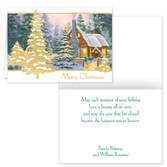 Glowing Cottage Personalized Christmas Cards - Set Of 20