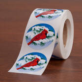 Snowy Cardinal Seals - Roll Of 250