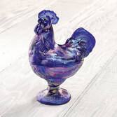 Carnival Blue Depression Style Glass Rooster Candy Dish