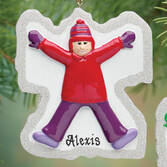 Personalized Girl Snow Angel Ornament   Personalized