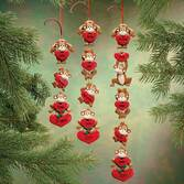 Personalized Monkeys With Hearts Ornaments