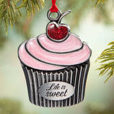 Pewter Life is Sweet Cupcake Ornament
