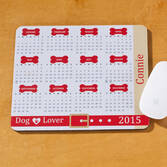 Personalized Dog Lover Calendar Mousepad