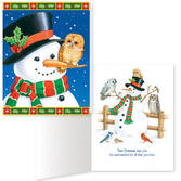 Snowman and Owls Non Personalized Christmas Card Set of 20