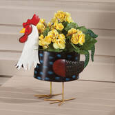Metal Rooster Planter by Maple Lane Creations™