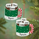 Personalized Hot Chocolate Family Ornament   Personalized Family of 3