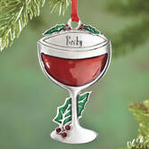 Personalized Pewter Wine Glass Ornament
