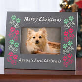 Personalized Dog's First Christmas Frame