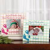 Personalized Baby's First Christmas Frame   Personalized Blue