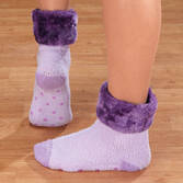 Fur Cuff Chenille Slipper Socks with Grippers, 1 pr.