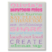 Personalized Pink Playroom Rules Name Plaque