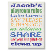 Personalized Blue Playroom Rules Name Plaque