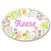 Personalized Floral Drawing Name Plaque