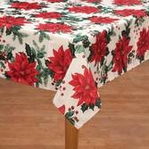 Poinsettia Metallic Fabric Tablecloth  54