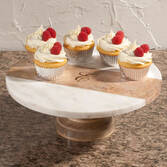 Personalized Marble and Wood Cake Stand