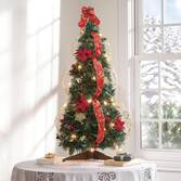 3-Ft. Pull-Up Fully Decorated Pre-Lit Poinsettia Tree