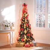 7-Ft. Pull-Up Fully Decorated Pre-Lit Poinsettia Tree